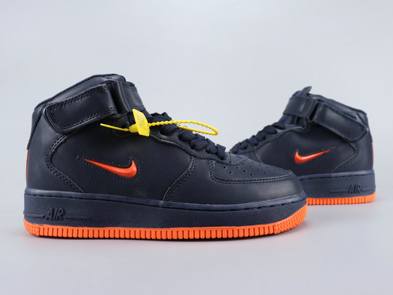 2020 Nike Air Force 1 Mid Retro PRM QS Deep Blue Orange For Women